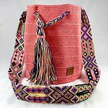Kabelky - WAYALA bag (wayuu bag style)- lososová - 13075334_