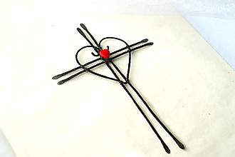 Dekorácie - Krížik so srdiečkom* 15cm - 13071383_
