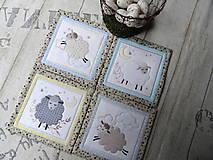 Úžitkový textil - Ovečky... podložky 4 ks  - 13078334_