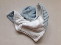 Textil - Detská obojstranná deka wafflovo-fleesová, modro -biela - 13079376_