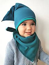Detské čiapky - Škriatkovská čiapočka s rolničkou modro-zelená - 13076846_