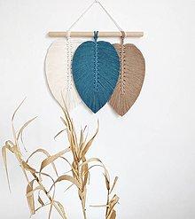 Dekorácie - Makramé závesná dekorácia CLOVER (Biela/petrolejová/hnedá) - 13079927_