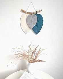Dekorácie - Makramé závesná dekorácia FALL (petrolejová/šedá/biela) - 13079939_