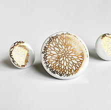 Sady šperkov - Zářím porcelánová brož + náušnice - 13079980_