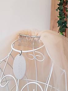 Ozdoby do vlasov - Svadobný závoj - jemná oriešková farba - 13079056_