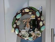 Dekorácie - Veľkonočný veniec Zajko modrý - 13078236_