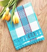Úžitkový textil - Utierka s háčkovanou krajkou, tyrkysová  - 13075649_