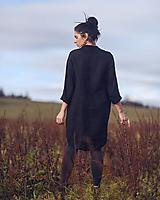 Šaty - lněné šaty hladké Noir (L) - 13079926_
