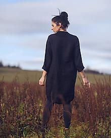 Šaty - lněné šaty hladké Noir - 13079926_