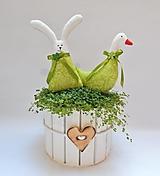 Dekorácie - Zajačik a húska - jarná zelená sada - 13077112_
