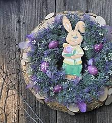 Dekorácie - Veľkonočný veniec so zajačikom - 13083947_