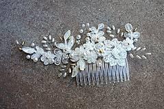 Ozdoby do vlasov - Ivory svadobný hrebienok do vlasov + zlatá - 13081943_