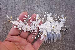 Ozdoby do vlasov - Ivory svadobný hrebienok do vlasov + zlatá - 13081945_