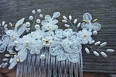 Ozdoby do vlasov - Ivory svadobný hrebienok do vlasov + zlatá - 13081951_