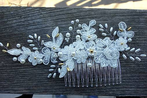 Ivory svadobný hrebienok do vlasov + zlatá