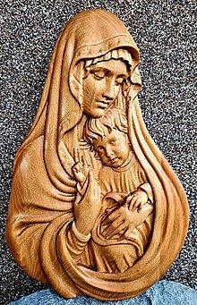 Dekorácie - Drevorezba Panna Mária a Ježiško - 13083012_