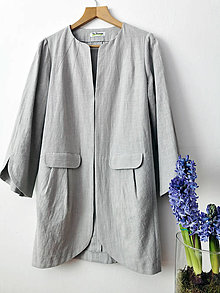 Kabáty - Jarný ľanový plášť - 13080689_