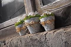 Dekorácie - Tri veľkonočné črepníčky - 13083220_