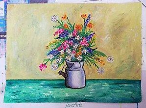 Obrazy - Lúčne kvietky v kanvičke obraz - 13081515_