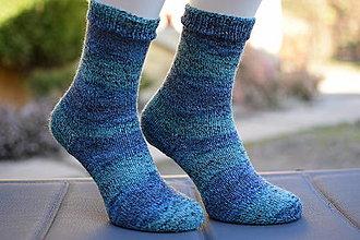 Obuv - s pravej ponožkovej 4-nitky - MODRÁ LAGÚNA ( v.37-38) - 13082241_
