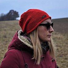 Čiapky - Červená bavlnená čiapka - 13086474_