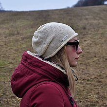 Čiapky - Krémová bavlnená čiapka - 13086745_