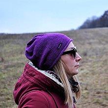 Čiapky - Fialová bavlnená čiapka - 13086859_