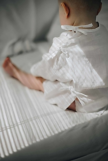 Detské oblečenie - AMEL zavinovacia košieľka biela - 13087080_