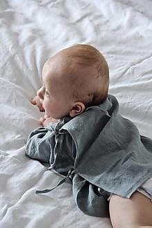 Detské oblečenie - AMEL zavinovacia košieľka modrošedá - 13087148_