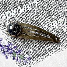 Ozdoby do vlasov - Black Jasper Bronze Hairpin / Sponka do vlasov s čiernym jaspisom - 13085198_