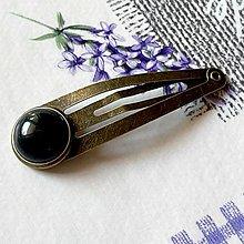 Ozdoby do vlasov - Moss Agate Bronze Hairpin / Sponka do vlasov s machovým achátom - 13085698_