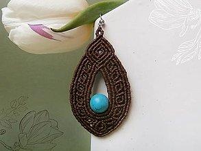 Náušnice - makramé náušnice Brown-Turquoise - 13087681_