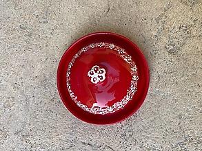 Nádoby - Červená maľovaná maselnička na malé maslo - 13085710_