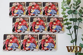 Darčeky pre svadobčanov - Drevené magnetky s fotkou - 13085939_