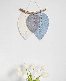 Dekorácie - Makramé závesná dekorácia FALL (svetlomodrá/šedá/biela) - 13084913_