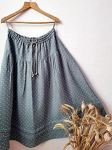 Sukne - Dlhá ľanová sukňa - 13088334_