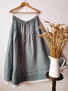 Sukne - Dlhá ľanová sukňa s madeirou - 13088414_