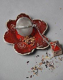 Nádoby - tanierik kvet červený - 13087106_