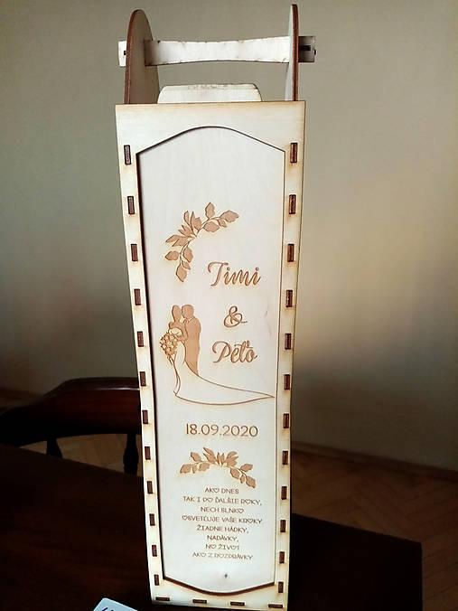 Svadobná krabička na víno vysúvačka