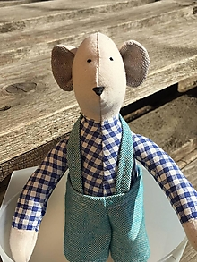 Hračky - myšiačik v modrých nohaviciach ... - 13086564_