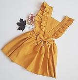 Detské oblečenie - Vtáča - dievčenské ľanové šaty s volánmi a mašľou (zlatožltá (mango)) - 13088716_