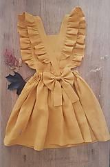 Detské oblečenie - Vtáča - dievčenské ľanové šaty s volánmi a mašľou (zlatožltá (mango)) - 13088718_