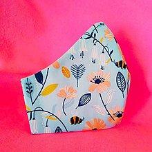 Rúška - Antibakteriálne 2vrstvové rúško Kvietky na modrej - 13086236_