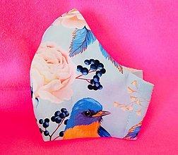 Rúška - Antibakteriálne 2vrstvové rúško Vtáčik - 13086247_