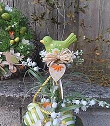 Dekorácie - Veľkonočná dekorácia s vtáčikom - 13093408_