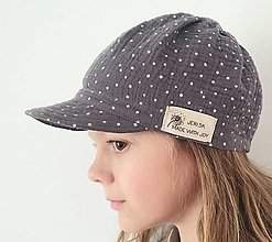"Detské čiapky - Čiapka ""ULIČNÍČKA"" - sivá s bielymi bodkami - 13092387_"