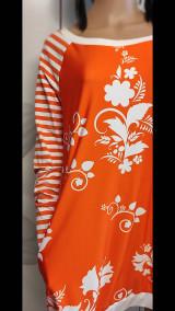 Šaty - FLORAL FOLK -  šaty v dĺžke midi s vačkami (mandarínka s bielou) - 13089939_