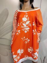 Šaty - FLORAL FOLK -  šaty v dĺžke midi s vačkami (mandarínka s bielou) - 13089940_