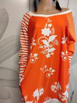 Šaty - FLORAL FOLK -  šaty v dĺžke midi s vačkami (mandarínka s bielou) - 13089942_