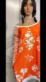 Šaty - FLORAL FOLK -  šaty v dĺžke midi s vačkami (mandarínka s bielou) - 13089952_